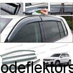 Дефлекторы окон (ветровики) Volkswagen Tiguan 2010-17 нержавеющий молдинг хром