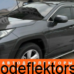Дефлекторы окон (ветровики) Toyota RAV 2019, 2020, 2021 нержавеющий молдинг