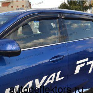 Дефлекторы окон (ветровики) SIM на Haval F7 2019- темные, арт. SHAVF71932