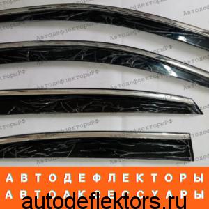 Дефлекторы окон (ветровики) Lexus RX 2003-2008 нержавеющий молдинг