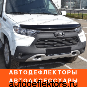 Дефлектор капота SIM на Lada Niva Travel 2020- н.в. темный, арт. SVAZNIVT2012